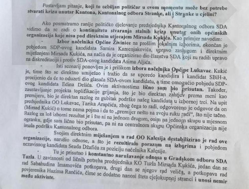 Pismo Bege Gutića u kojem se spominje saradnja Kukića, Hankića i Delića.